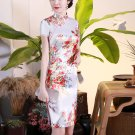 Chinese characteristics cheongsam digital printed  skirt Knee-Length Dress -color:white-No.2