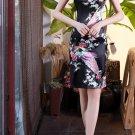 Chinese characteristics cheongsam digital printed  skirt Knee-Length Dress -color:black-No.1