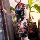 Chinese characteristics cheongsam digital printed  skirt Knee-Length Dress -color:black-No.2