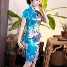 Chinese characteristics cheongsam digital printed  skirt Knee-Length Dress -color:blue-No.3