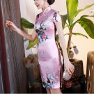 Chinese characteristics cheongsam digital printed  skirt Knee-Length Dress -color:pink-No.1