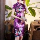 Chinese characteristics cheongsam digital printed  skirt Knee-Length Dress -color:purple-No.1