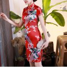 Chinese characteristics cheongsam digital printed  skirt Knee-Length Dress -color:red-No.3