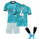 The Premier League Liverpool F.C.Jersey Cosplay suit T shirt Shorts sleeve Socks No.4 -color:blue