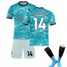 The Premier League Liverpool F.C.Jersey Cosplay suit T shirt Shorts sleeve Socks No.14 -color:blue