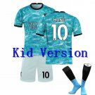 The Premier League Liverpool F.C.Jersey Cosplay suit T shirt Shorts sleeve Socks for kid No.10 -blue