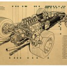 F1 formula car Cartoon chart picture Kraft paper poster Decorative painting