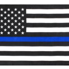 U.S. police flag thin blue 6 X 3.6 in high quality flag with copper hanging ring