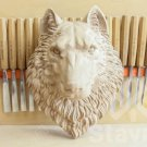 SET OF 10 Wolf head hand carved wood, wood carving mask wolf, decorative animal