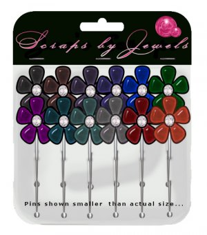 Colored Flower Stick Pins