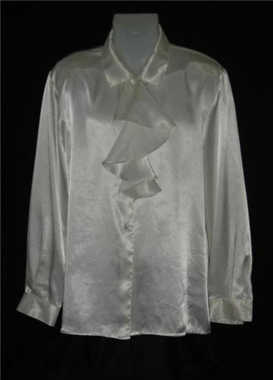 Leslie Fay Off White Ruffle Dress Shirt LS Sz 18