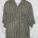Mens Buno Italian Shirt Large Funky Pattern Black & Tan