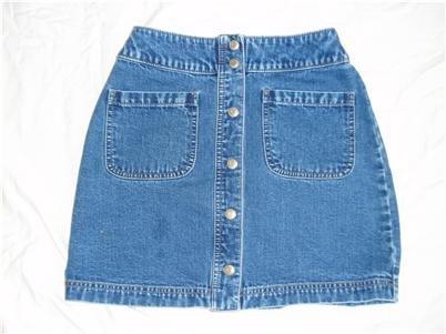 Gap Snap Blue Denim Mini Skirt Sz 1