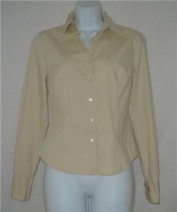 Ann Taylor Loft Stretch Beige Button down shirt sz 2 SM