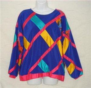 OOAK Handmade Funky Colorful Shirt Medium Blue Pink Med