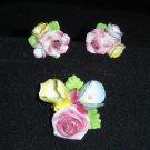 Vintage Enamel Flower Earrings & Brooch Made in Japan