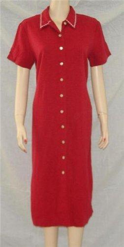 Talbots Red Long Tunic Dress Linen Blend 8P 8 P MOP Buttons