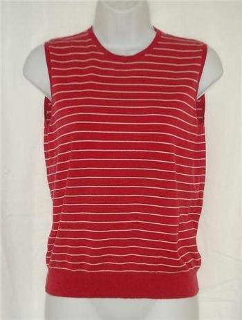 Womens Stretch Ralph Lauren Red striped Shirt Medium