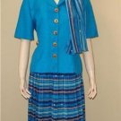 3pc Blue Leslie Fay Skirt Suit 10P 10 P