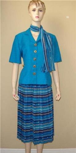 3pc Blue Leslie Fay Skirt Suit 10P 10 P