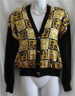 St John Black Santana Knit & Silk V neck Shirt Top P/S