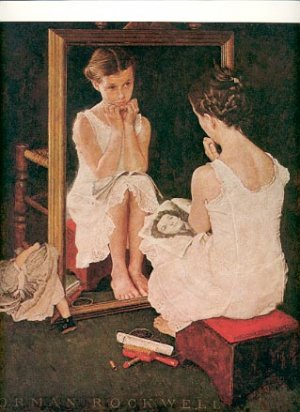 NORMAN ROCKWELL PRINT ~ GIRL AT THE MIRROR # 5 NEAR MINT