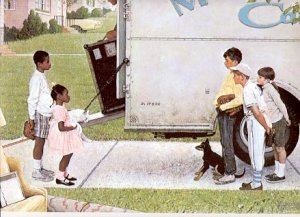 NORMAN ROCKWELL PRINT ~ NEW KIDS IN THE NEIGHBORHOOD # 30 NEAR MINT