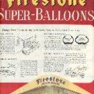 1949 FIRESTONE SUPER-BALLOON TIRES DOUBLE PAGE MAGAZINE AD  (120)