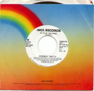FIT TO BE TIED DOWN by CONWAY TWITTY 1990 MCA RECORDS 45 RPM PROMO RECORD # 1 MINT