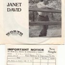 HE MADE A WOMAN OUT OF ME by JANET DAVID W/PROMO CARD 45 RPM PROMOTION RECORD # 21 MINT
