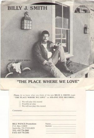 THE PLACE WHERE WE LOVE & WHO'S GONNA LOVE MAN LIKE ME by BILLY J. SMITH 45 RPM PROMO RECO #123 MINT