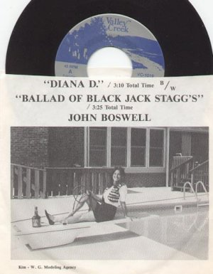 DIANA D & BALLAD OF BLACK JACK STAGG'S by JOHN BOSWELL  VALLEY CREEK 45 RPM PROMO RECORD #140 MINT