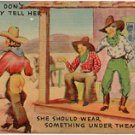 SOMETHING UNDER THEM CHAPS - WESTERN COMIC RISQUE LINEN POSTCARD #14 UNUSED