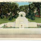 THE BRONCO FOUNTAIN ON CAMPUS ROSWELL NM. MILITARY INSTITUTE LINEN POSTCARD #26 UNUSED
