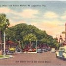 CATHEDRAL PLACE PLAZA & PUBLIC MARKET ST. AUGUSTINE FL. - THE OLDEST CITY LINEN POSTCARD #32