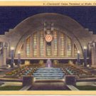 CINCINNATI UNION TERMINAL AT NIGHT CINCINNATI OHIO LINEN POSTCARD #48 UNUSED