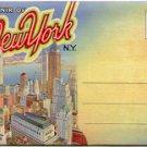 SOUVENIR OF NEW YORK CITYs LARGEST BUILDINGS LINEN POSTCARD BOOKLET #73 UNUSED