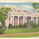 GOVERNOR'S MANSION TALLAHASSEE FLORIDA LINEN POSTCARD #91 UNUSED