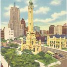 OLD WATER TOWER AND PALMOLIVE BUILDING CHICAGO ILLIONOIS LINEN POSTCARD #100 UNUSED