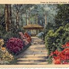 SCENE IN BELLINGRATH GARDENS MOBILE ALABAMA LINEN POSTCARD #164 UNUSED