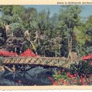 MIRROR LAKE BRIDGE AT BELLINGRATH GARDENS MOBILE ALABAMA LINEN POSTCARD #180 UNUSED