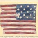 STAR SPANGLED BANNER U.S. NATIONAL MUSEUM SMITHSONIAN INSTITUTION LINEN POSTCARD #220 UNUSED