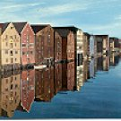 THE OLD WARE-HOUSES AT NIDELVEN RIVER TRONDHEIM NORWAY PICTURE POSTCARD #253 UNUSED POSTALLY CLEARED