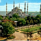 THE BLUE MOSQUE & GERMAN FOUNTAIN ISTANBUL TURKEY COLOR PICTURE POSTCARD #283 UNUSED