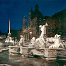 NAVONA SQUARE BY NIGHT NEPTUN'S FOUNTAIN ROME ITALY COLOR PICTURE POSTCARD #333 UNUSED