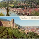 DOUBLE VIEW OF HEIDELBERG GERMANY COLOR PICTURE POSTCARD #448 UNUSED