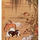 STALLIONS UNDER WILLOW TREES NATL PALACE MUSEUM TAIPEI TAIWAN COLOR PICTURE POSTCARD #463 UNUSED