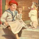 (BOY & DOG) HITTING THE PIPE #5223 COLOR PICTURE POSTCARD #494 USED 1909