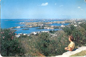 HAMILTON HARBOUR BERMUDA GIANT COLOR PICTURE POSTCARD #516 USED 1957