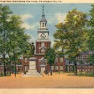 BARRY STATUE AND INDEPENDENCE HALL PHILADELPHIA PA. LINEN POSTCARD #571 UNUSED